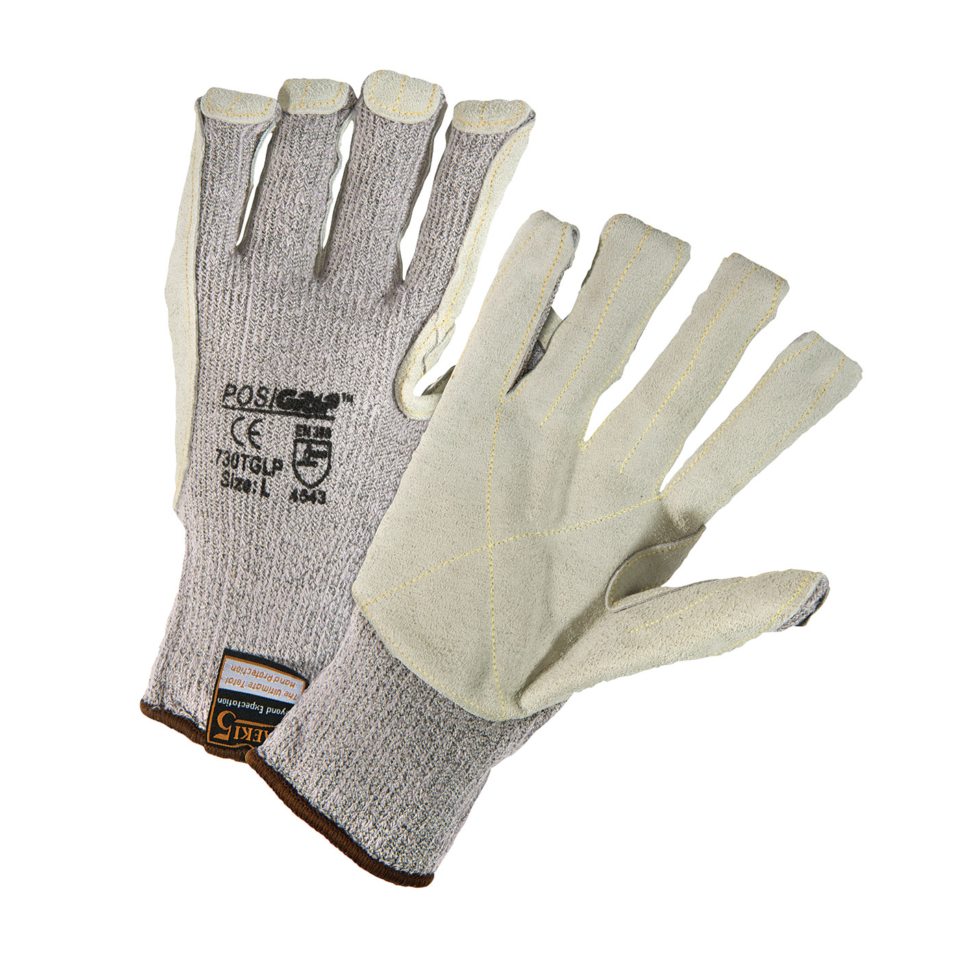 Seamless Knit HPPE Blended Glove with Split Cowhide Leather Palm and Kevlar® Stitching, Gray, M