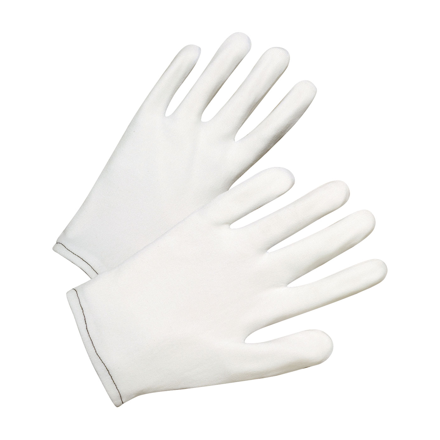 70 Denier Tricot Inspection Glove with Rolled Hem Cuff, White, L