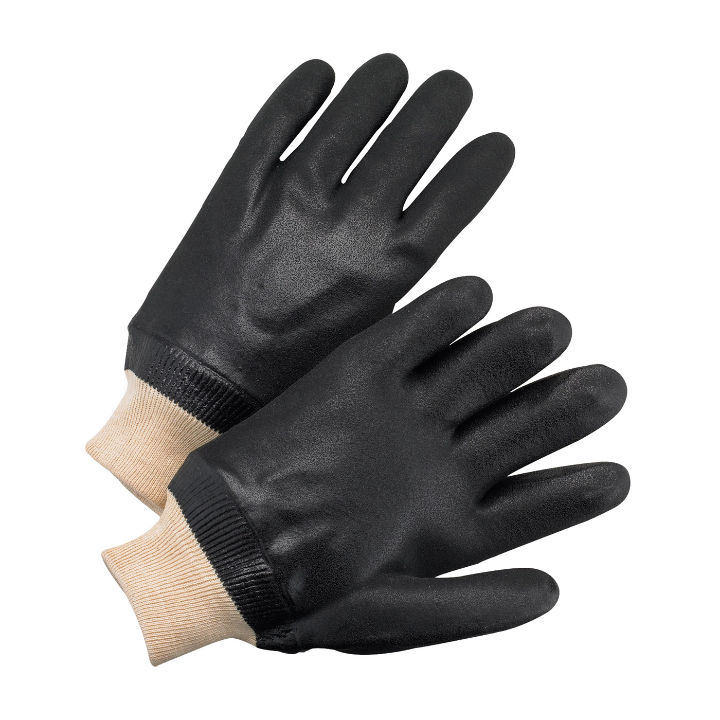 PVC Dipped Glove with Jersey Liner and Rough Finish - Knitwrist, Black, L