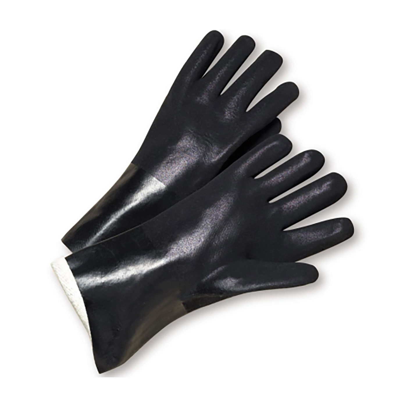 "PVC Dipped Glove with Jersey Liner and Rough Finish - 14"", Black, 14"""
