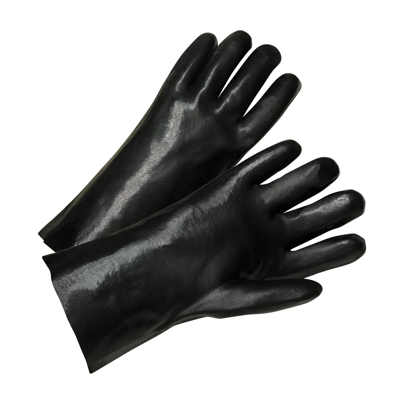 "PVC Dipped Glove with Jersey Liner and Smooth Finish - 12"", Black, L"