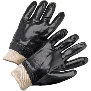 PVC Dipped Glove with Interlock Liner and Smooth Finish - Knitwrist, Natural, L
