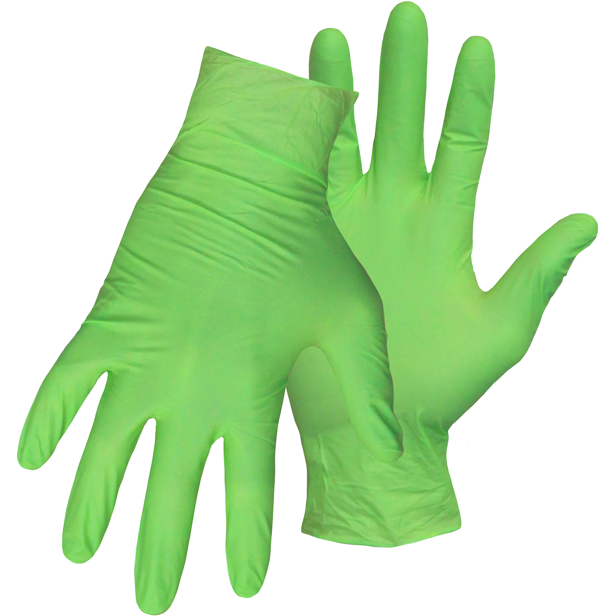 """Lightly Textured 4 Mil High-Vis. Green Disposable Nitrile Gloves 10"""" Long With Rolled Cuff - Powder-Free, Green, M"""