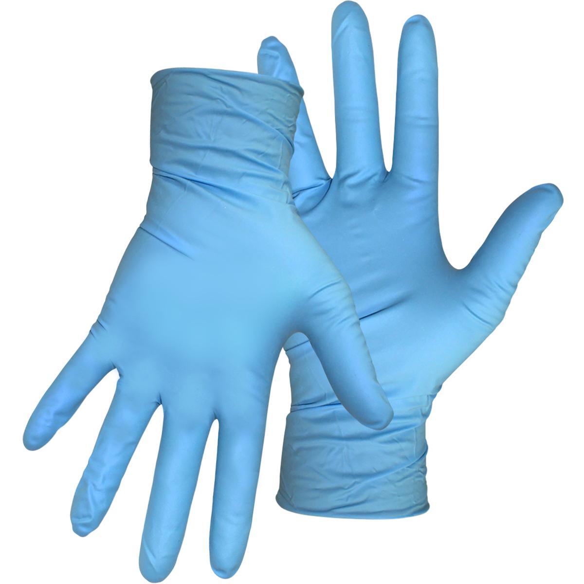 "General Grade 8 Mil, Disposable Nitrile Gloves  - 9.5"" - Powder-Free, Blue, 2XL"