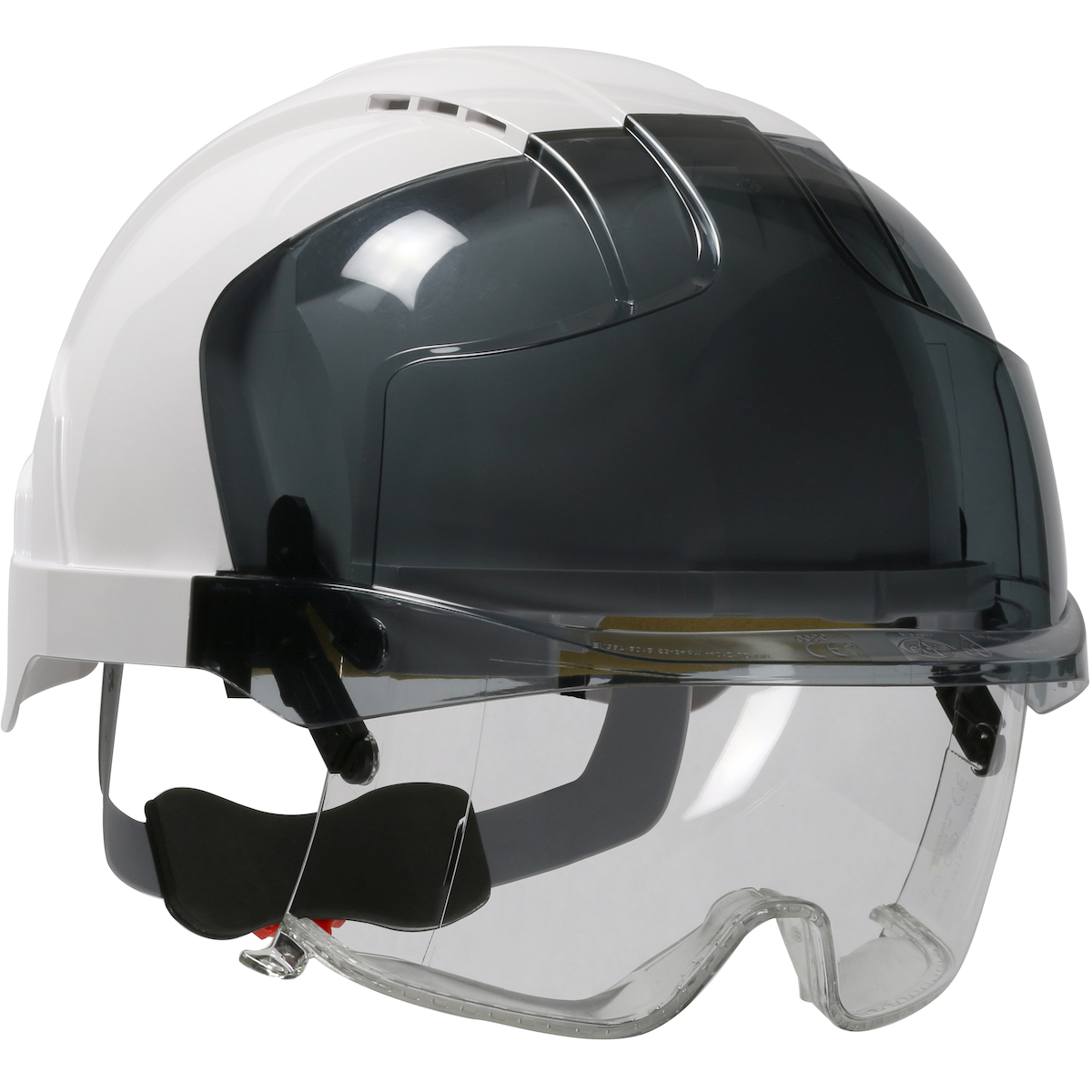 Type I, Vented Industrial Safety Helmet with Lightweight ABS Shell, Integrated ANSI Z87.1 Eye Protection, 6-Point Polyester Suspension and Wheel Ratchet Adjustment, White, OS