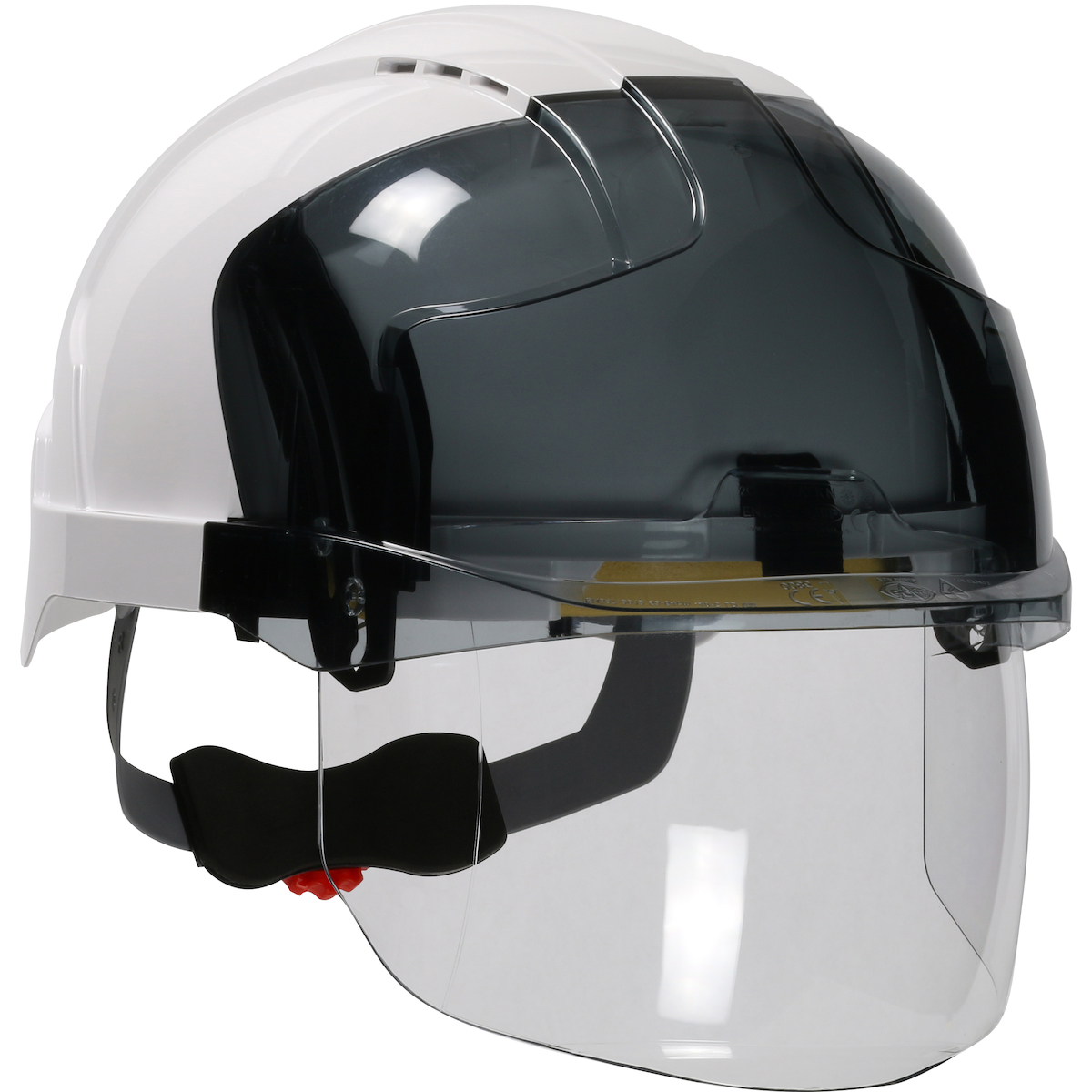 Type I, Vented Industrial Safety Helmet with Lightweight ABS Shell, Integrated ANSI Z87.1 Faceshield, 6-Point Polyester Suspension and Wheel Ratchet Adjustment, White, OS