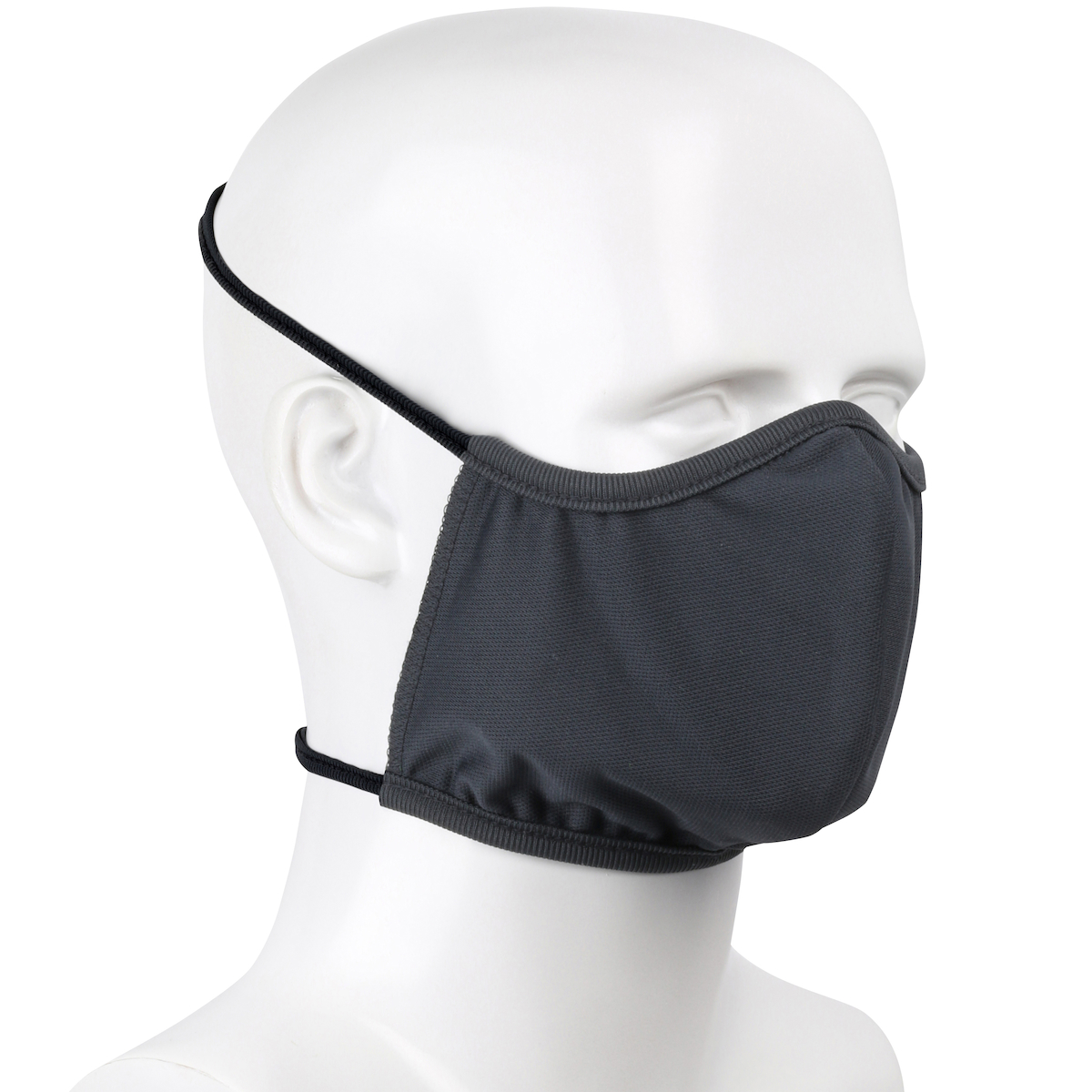 2-Ply Performance Polyester Reusable Face Cover with Head Straps, Gray, OS