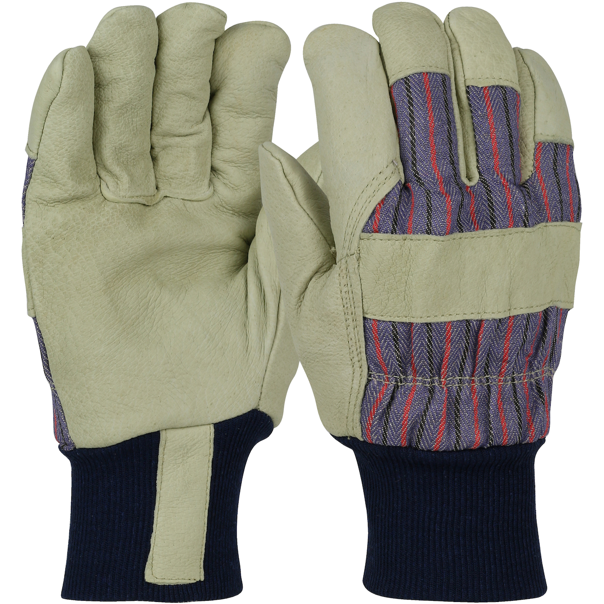 Pigskin Leather Palm Glove with Fabric Back and White Thermal Lining - Knit Wrist, Blue, L
