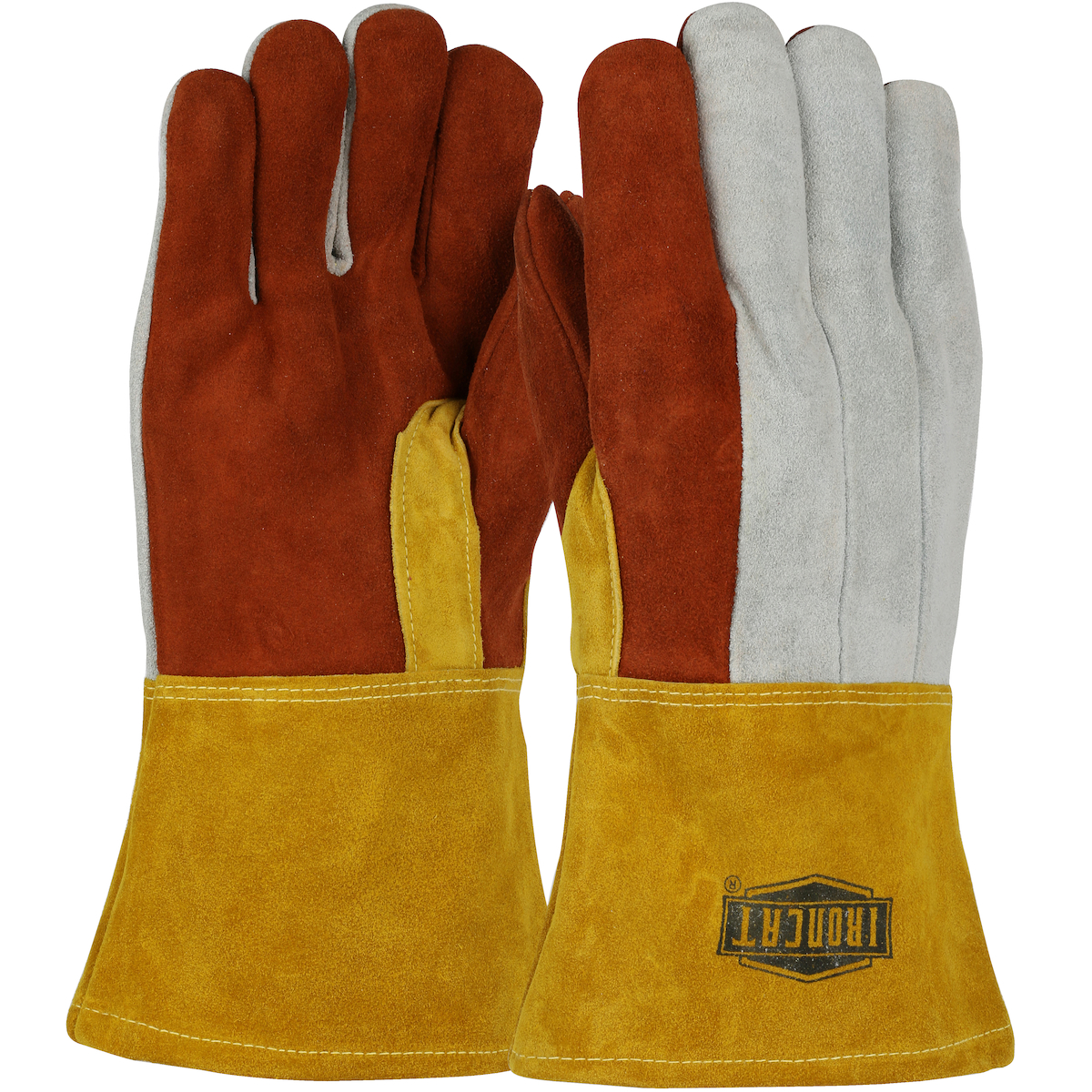 Premium Heavy Split Cowhide Foundry Glove with Cotton Lining and Kevlar® Stitching - Leather Gauntlet Cuff, Rust, L