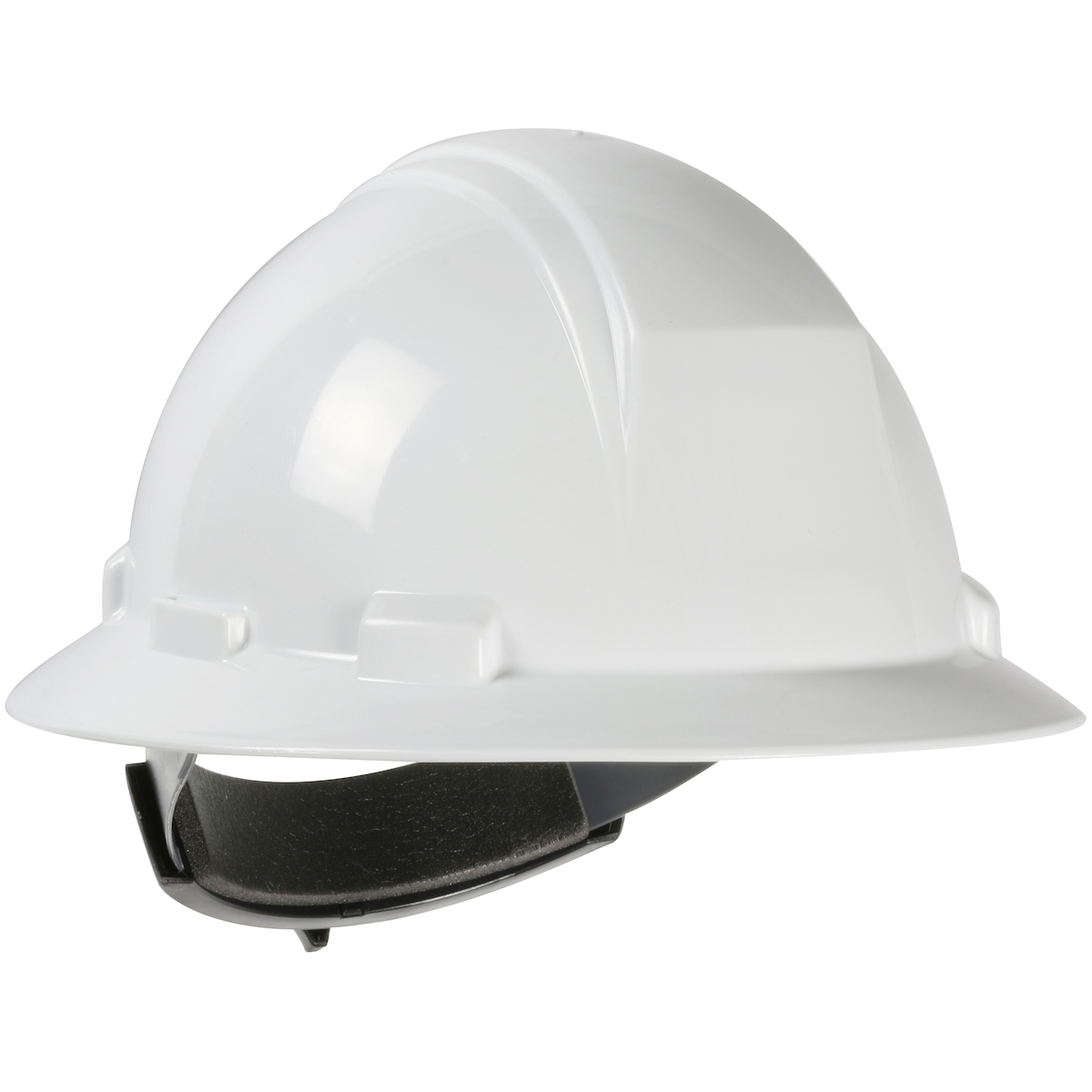 Type II Full Brim Hard Hat with HDPE Shell, 4-Point Textile Suspension and Wheel Ratchet Adjustment, White, OS