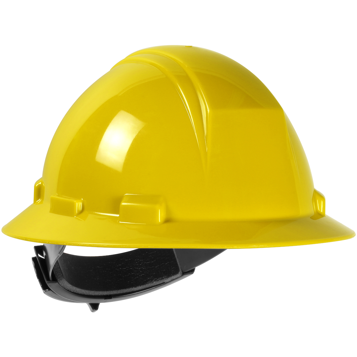 Type II Full Brim Hard Hat with HDPE Shell, 4-Point Textile Suspension and Wheel Ratchet Adjustment, Yellow, OS