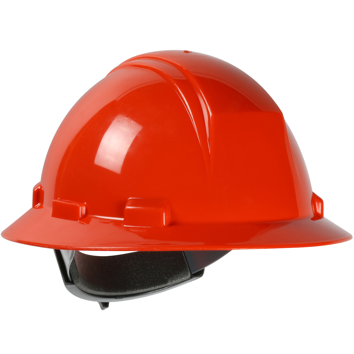 Type II Full Brim Hard Hat with HDPE Shell, 4-Point Textile Suspension and Wheel Ratchet Adjustment, Orange, OS