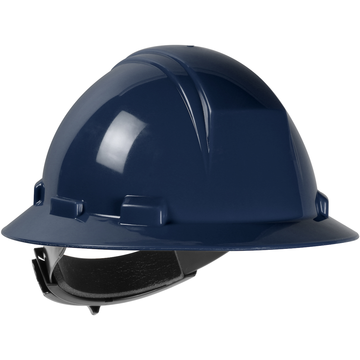 Type II Full Brim Hard Hat with HDPE Shell, 4-Point Textile Suspension and Wheel Ratchet Adjustment, Navy, OS