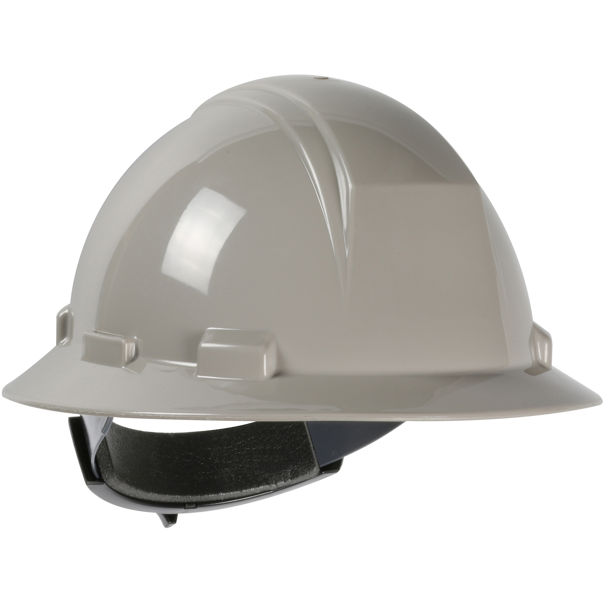 Type II Full Brim Hard Hat with HDPE Shell, 4-Point Textile Suspension and Wheel Ratchet Adjustment, Gray, OS
