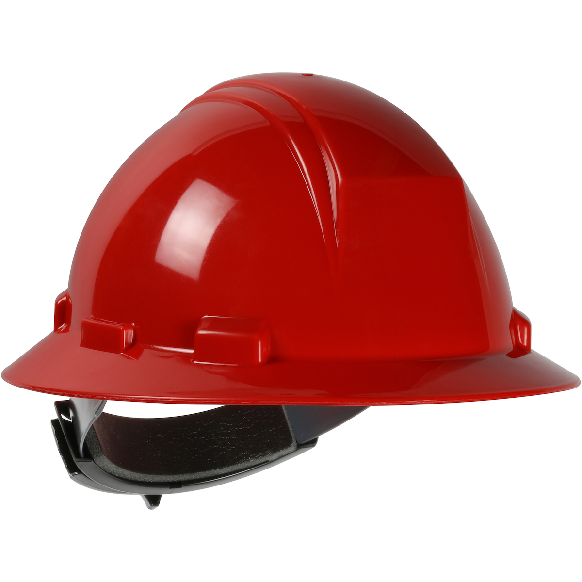 Type II Full Brim Hard Hat with HDPE Shell, 4-Point Textile Suspension and Wheel Ratchet Adjustment, Red, OS