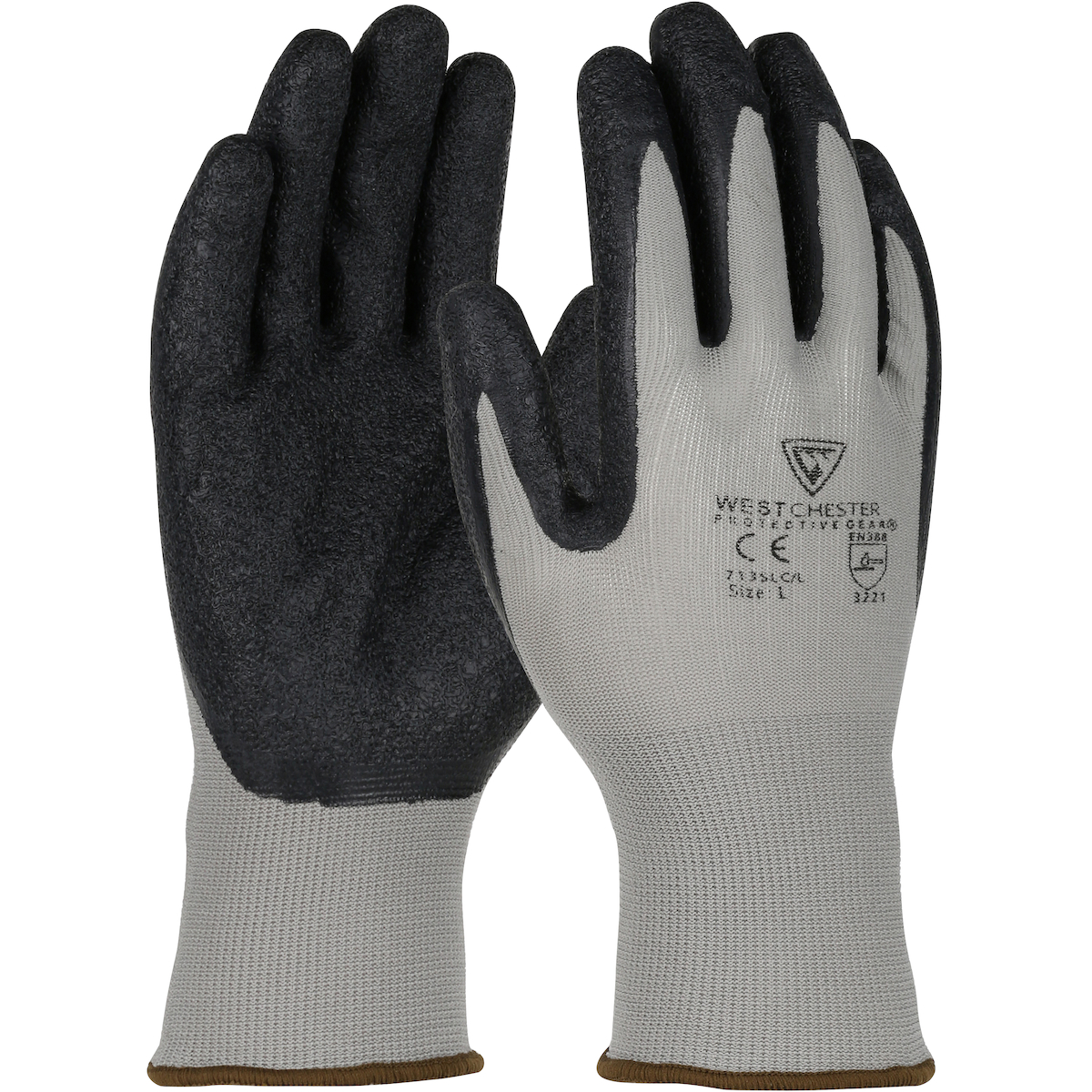 Seamless Knit Nylon Glove with Latex Coated Crinkle Grip on Palm & Fingers, Gray, 2XL