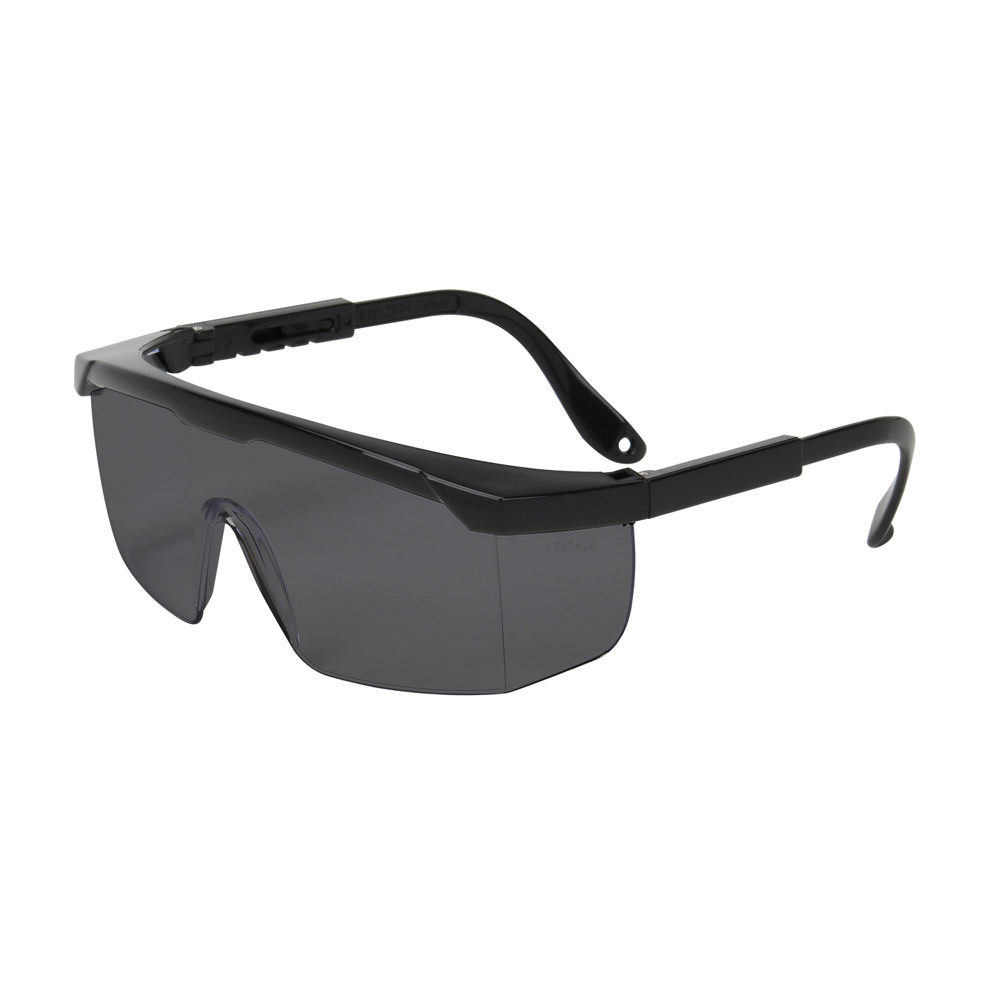 Semi-Rimless Safety Glasses with Black Frame, Gray Lens and Anti-Scratch Coating, Black, OS