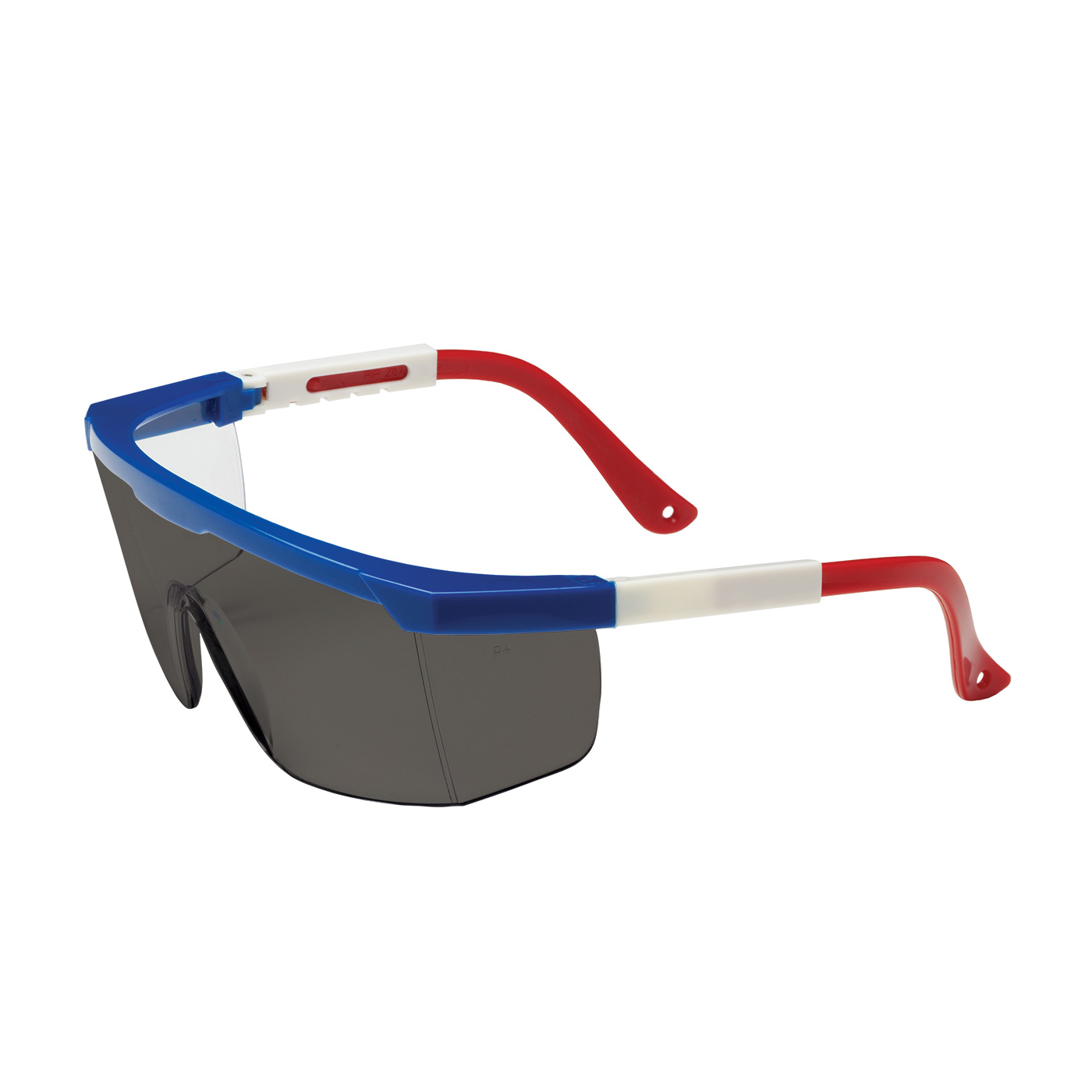 Semi-Rimless Safety Glasses with Red / White / Blue Frame, Gray Lens and Anti-Scratch Coating, Blue, OS