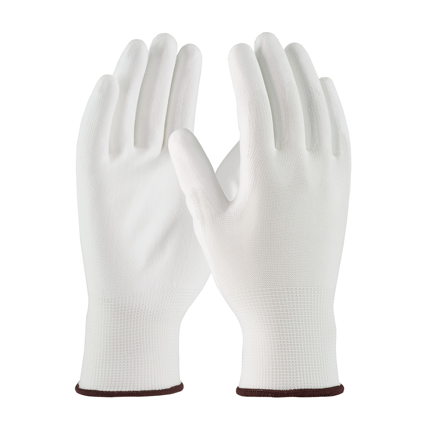 Seamless Knit Polyester Glove with Polyurethane Coated Smooth Grip on Palm & Fingers, White, M