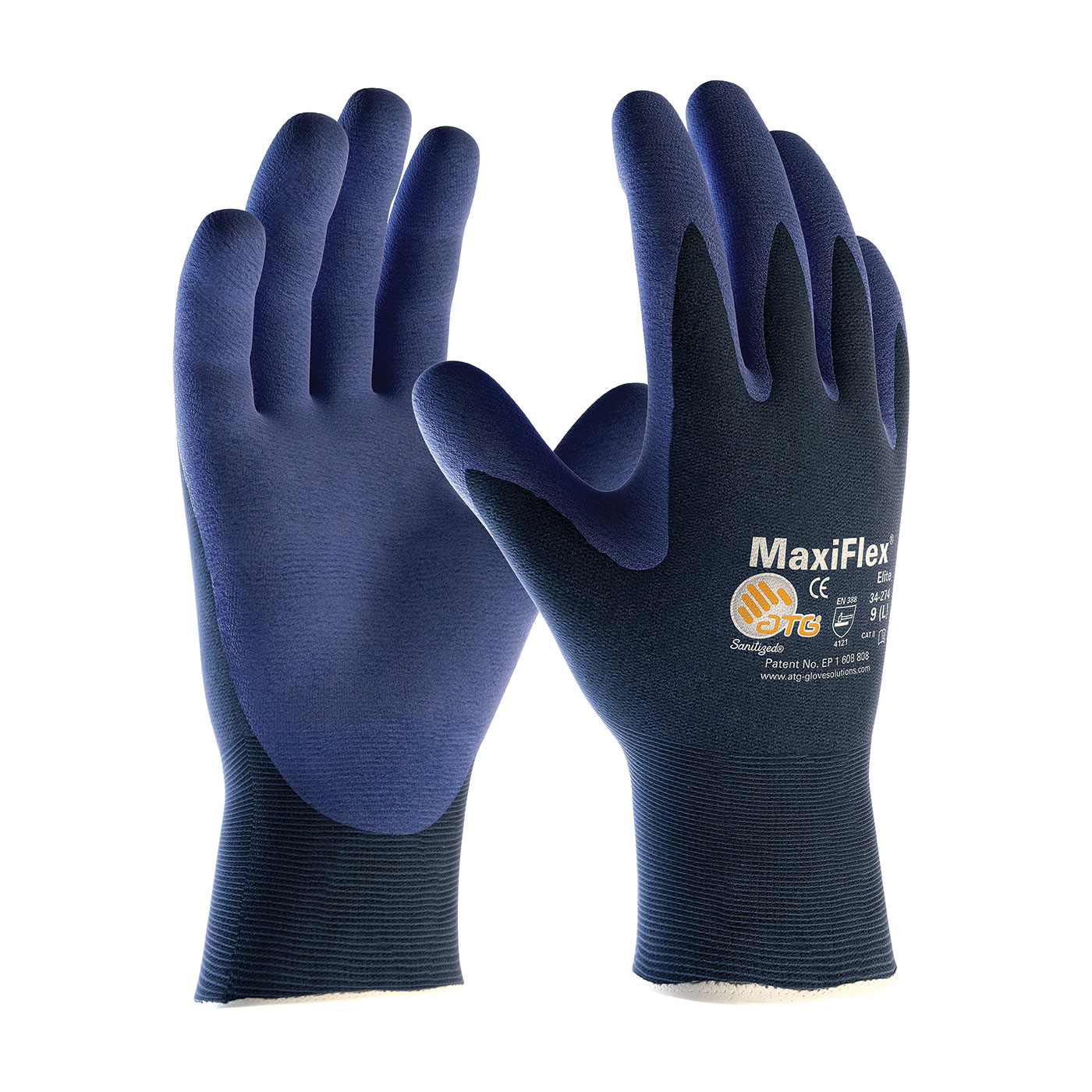 PIP 34-274XL G-TEK MAXIFLEX ELITE BLUE MICRO-FOAM NITRILE COATED PALM & FINGER TIPS GLOVE X-LARGE