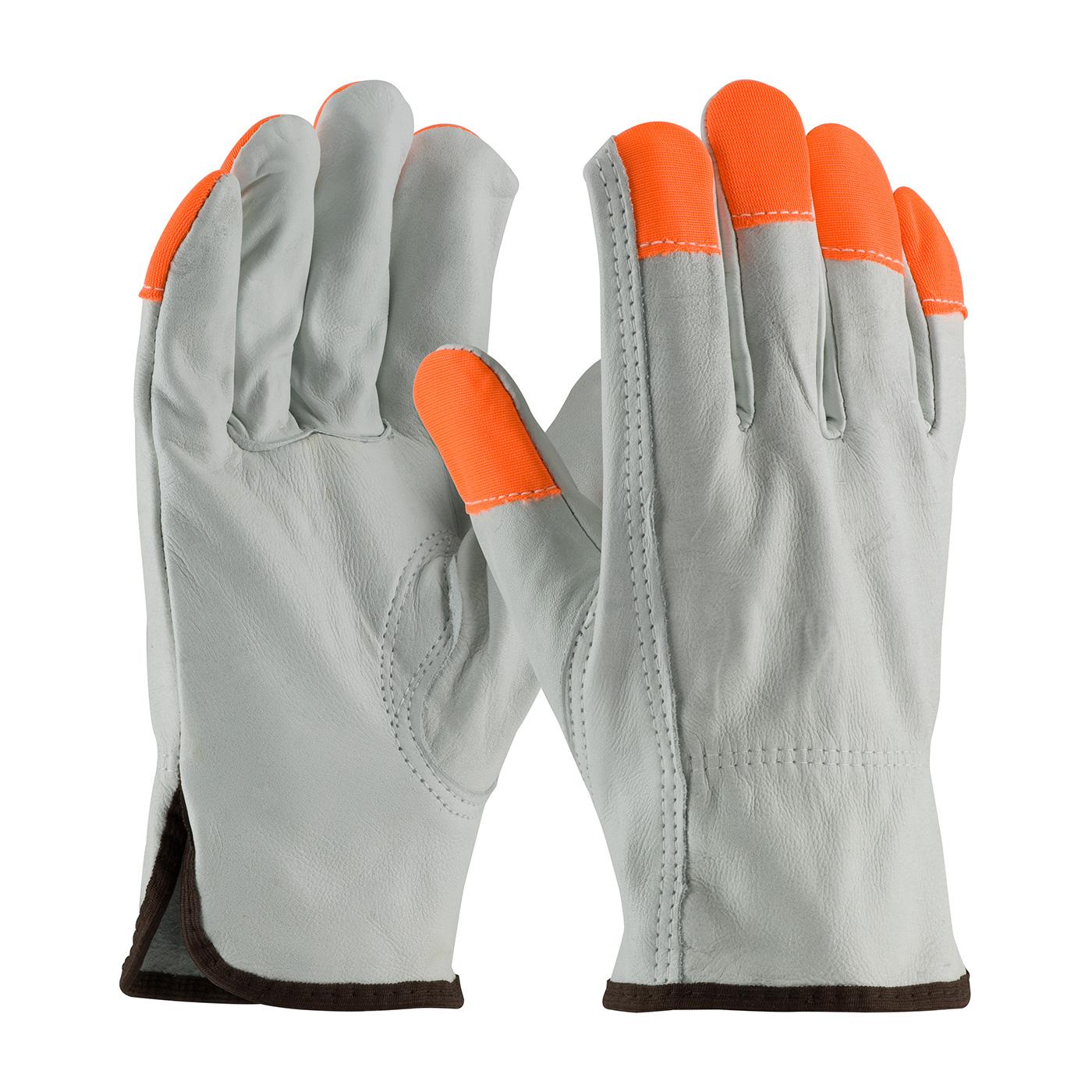 Regular Grade Top Grain Cowhide Leather Drivers Glove with Hi-Vis Fingertips - Keystone Thumb, Natural, S