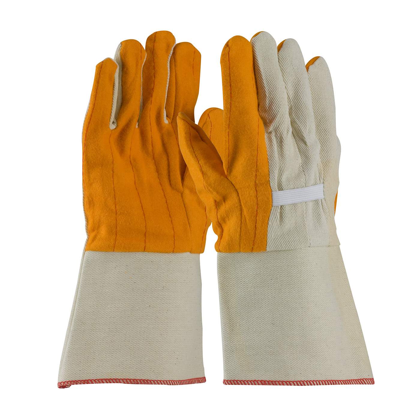 Premium Grade Cotton Chore Glove with Double Layer Palm/Back and Nap-out Finish - Rubberized Gauntlet Cuff, Gold, MENS